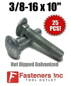 Package of 25 pcs 3//8-16 x 3-1//2 Carriage Bolt Hot Dipped Galvanized A307 Set #RD-1311FST Warranity by Pr-Mch