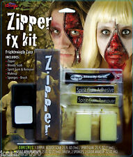 CLASSIC ZIPPER KIT WITH MAKE UP SPIRIT GUM AND REMOVER HORROR ZOMBIE WOUND FX