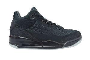 Detalles de Hombre Nike Air Jordan 3 Retro Flyknit AQ1005001 Triple Negro Zapatillas