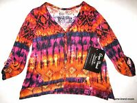 Onque Womens S Small Orange Pink Print V-neck Cardigan Shirt Top
