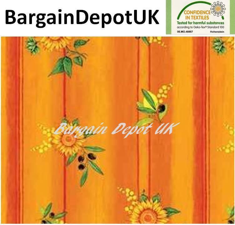 Sunflower Lemon Olive PVC Wipe Clean Vinyl Tablecloth ALL SIZES - Code  F377-5