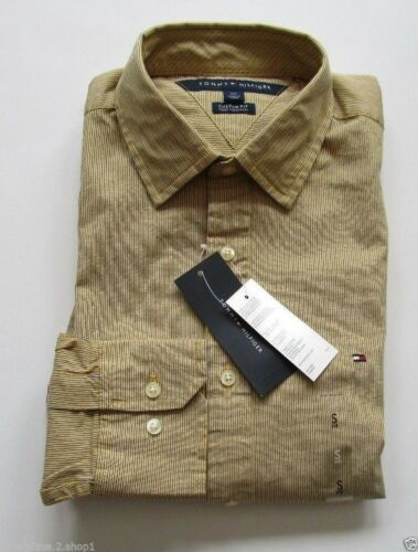 Tommy Hilfiger Mens L//S Custom Fit Yellow Mini Stripe Casual Button Front Shirt