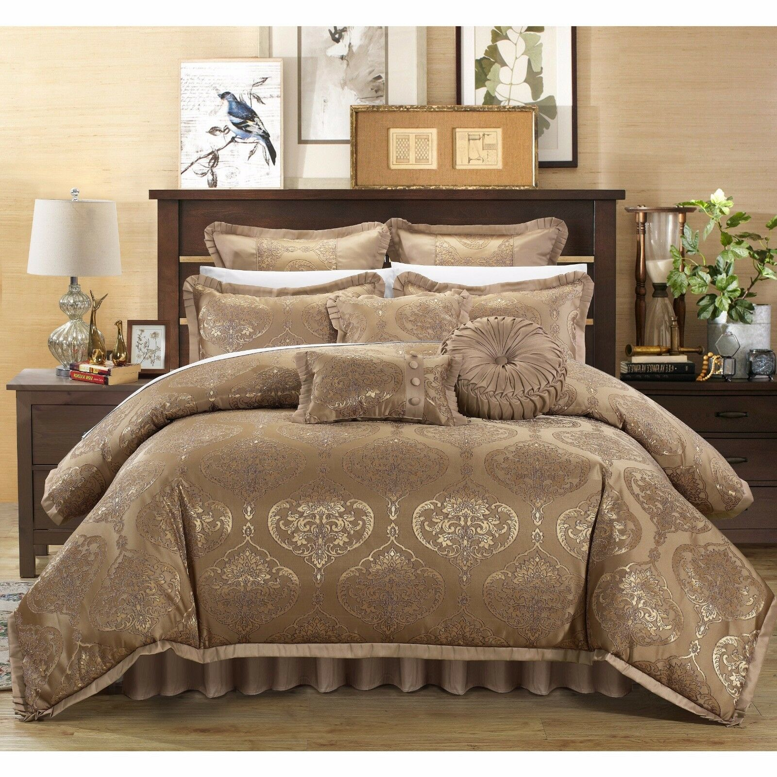 JACQUARD 9 PIECE COMFORTER SET   BED IN A BAG - King   Queen