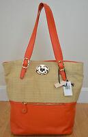 Emma Fox $298 Leather Tote Large Talbots Shoulder Bag Orange Handbag