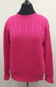 LILLY-PULITZER-PULLOVER-SZ-L-WOMENS-PINK-CABLE-KNIT-SWEATER-CREW-NECK-COTTON
