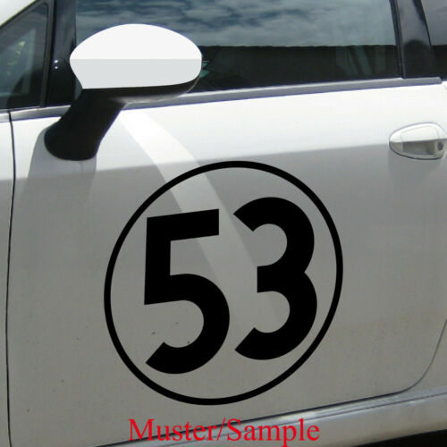 Aufkleber Tattoo 53 schwarz 40cm Auto Folie Racing Startnummer Nummer Herbie Nr