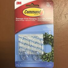 3M COMMAND Clear Medium HOOKS 2 Hooks And 4 Medium Clear Strips