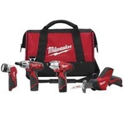 NEW MILWAUKEE 2498-24 M12 4 PIECE 12 VOLT CORDLESS TOOL KIT SAW DRILL LIGHT BAG