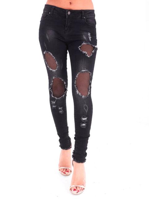 Womens Ripped Distressed Fishnet Mesh Insert Denim Jeans Slim Knee Holes Size