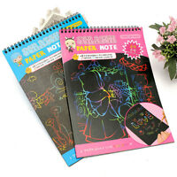 Scratch Art Magic 12 Sheet 1 Book Painting Paper + Wooden Drawing Stick Kid Gift