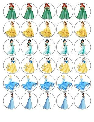 30 x DISNEY PRINCESS TIANA SNOW WHITE CINDERELLA EDIBLE PAPER CUP CAKE TOPPERS