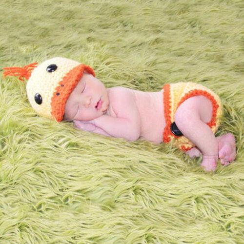 Chapeau Tenues Photography Prop 2pcs Canard Bébé Costume nouveau-né Crochet Pantalon