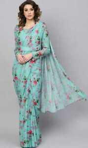 Indian-Floral-Printed-Saree-Sari-Designer-Party-Wear-Pakistani-Sari-Wedding-New