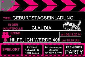 Das Bild Wird Geladen 20 Einladungskarten Filmklappe Film Kino Geburtstag  Einladungen Frau