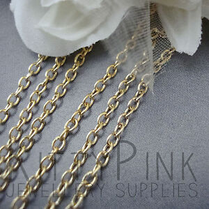 10 Metres Gold Plated Chain 3 x 2mm NICKEL FREE Necklace WHOLESALE BULK