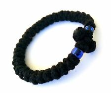 Orthodox Thick Chotki Bracelet Prayer Rope Komboskini with Cross & BLUE Beads