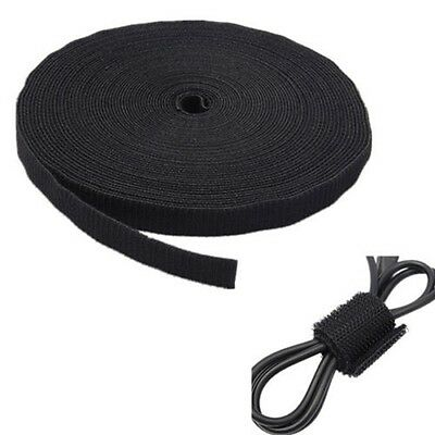 5m X 1cm Ultra Grip Double Sided  Type Tape Wrap Cable Ties Self-Gripping