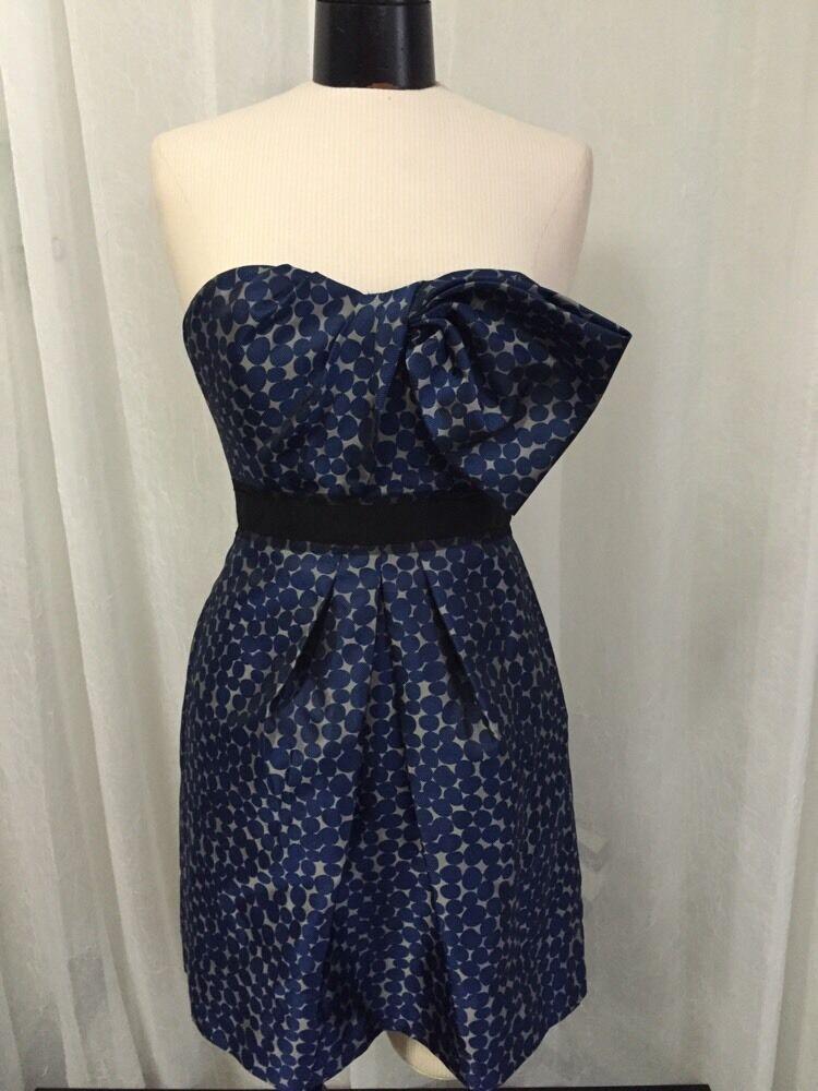 BCBG MAXAZRIA Women's Dress Performs Ink bluee Polkadot Size 4 New