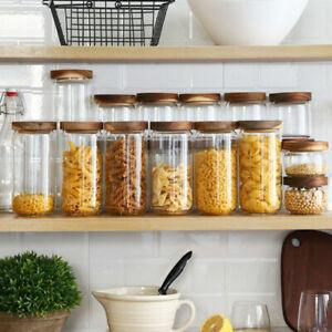 Glas-Dosen-Glas-Vorratsdosen-Kaffee-Tee-Leaf-Vorratsglaeser-mit-Holzdeckel-Neu
