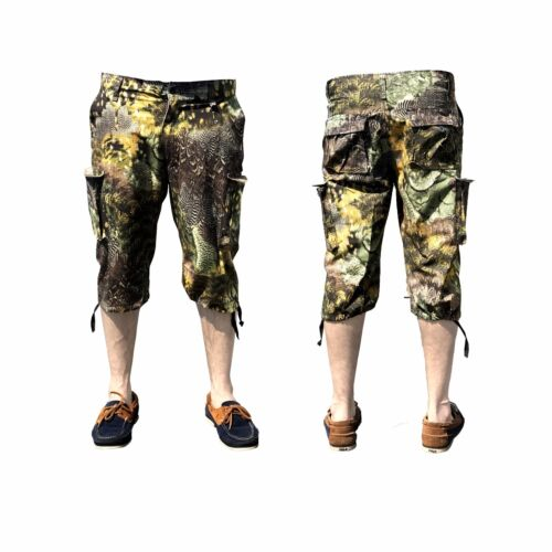 Pantaloncini da Uomo Cargo Combat Cotone Camouflage Jungle VINTAGE 3//4 Esercito Spiaggia Bermuda
