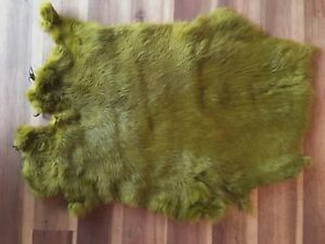 1x-Olive-Rabbit-Skin-Real-Fur-Pelt-animal-training-crafts-fly-tying-LARP