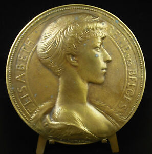 Medal-1900-12cm-Elizabeth-Duchess-in-Bavaria-Queen-of-Belgian-Belgium-Medal