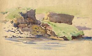 John Murray Thomson RSA, Rocks by River, Scotland – Mid-20th-century watercolour