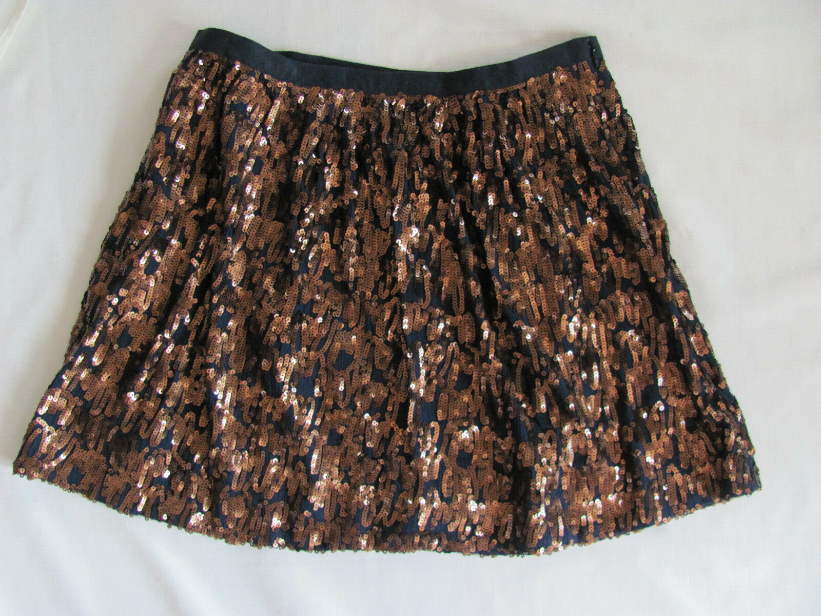 J.Crew Navy Copper Abstract Sequin Skirt - A Line Above Knee  -Size 12 NWT