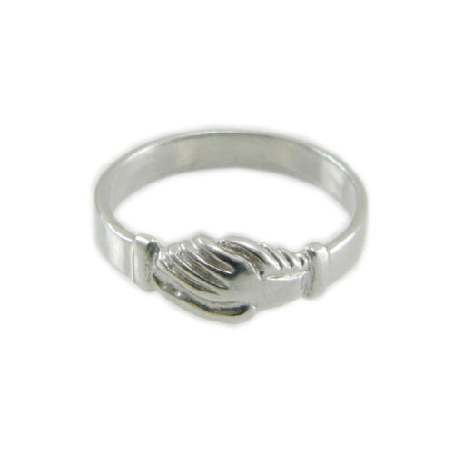 Anello Santa Rita argento con mani che si stringono Ring Saint Rita