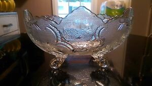 Antique Footed Glass Candyor Fruit Bowl