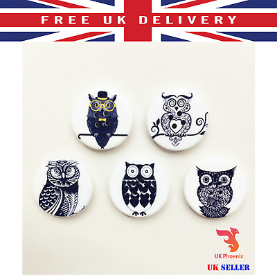 100x Owl Design 2-holes Wooden Scrapbooking Flatback Buttons for Kids Craft