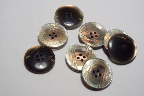 8pc 27mm Gris Madre De Perla Falsa Shell Abrigo Ropa tejida Chaqueta Niño botón 3087