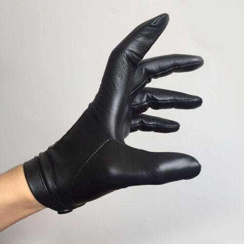 men whole piece of real Italy top leather wrist button gloves black