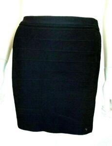 Guess womens skirt black sz Large mini bandage bodycon stretch pull on VGUC