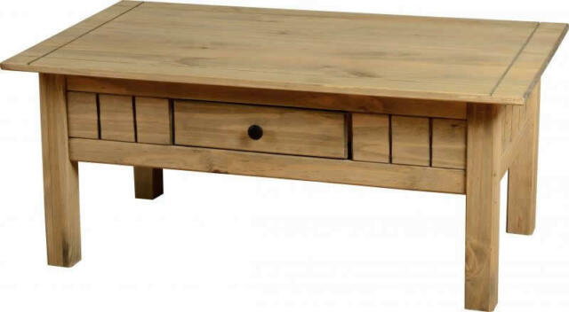PANAMA NATURAL WAX PINE 1 DRAWER COFFEE TABLE *FREE NEXT DAY DELIVERY