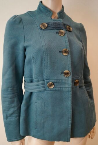 Marc Blue Collarless Blazer Jacobs Jacket Militaire stijl M 100katoen Top 8nmwNv0