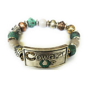 Cowgirl-Up-Western-Jewelry-Beaded-Stretch-Bracelet-Copper-Turquoise-Blue-Silver