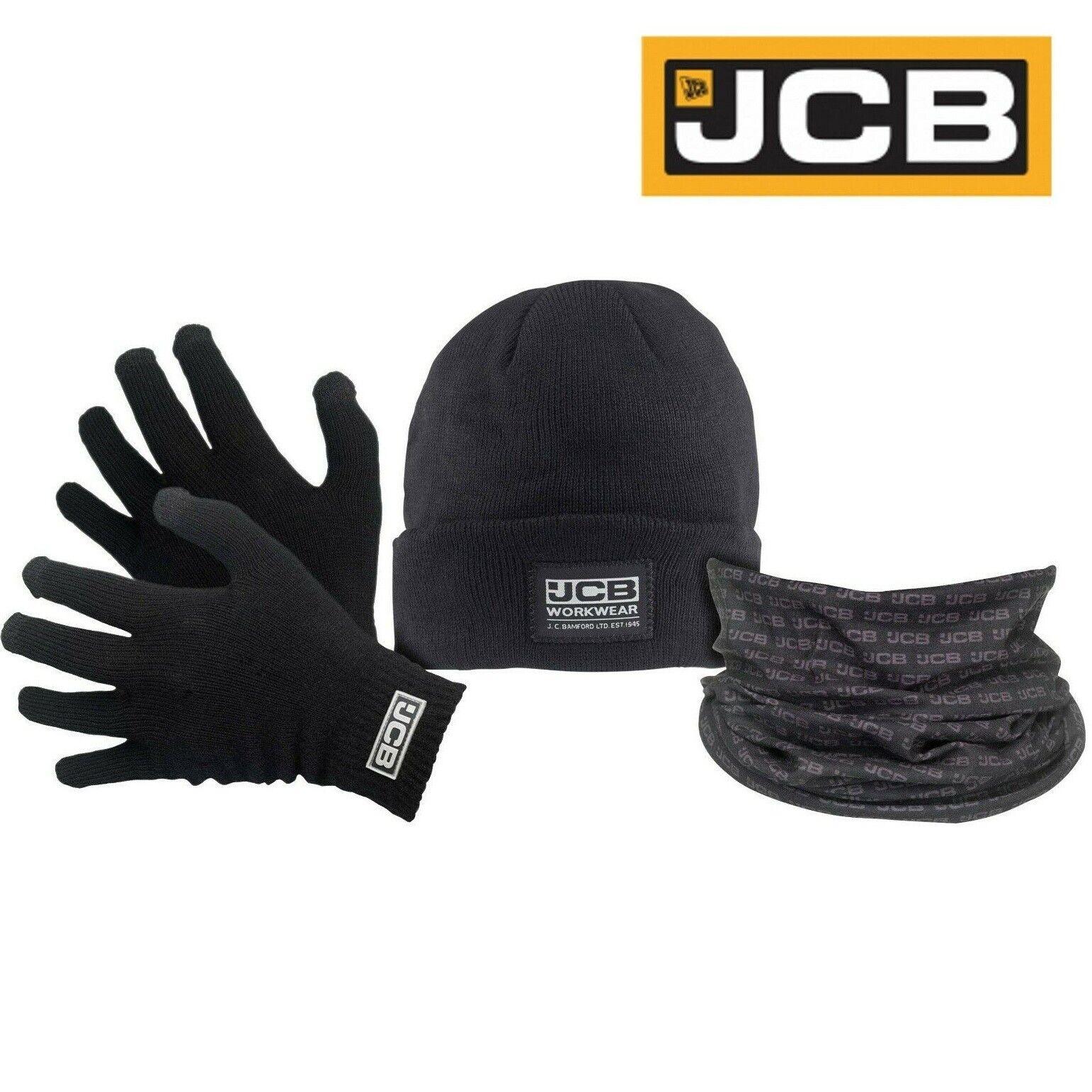 JCB Winter Set Touch Screen Gloves Beanie Hat & Snood - JCB Workwear One Size UK