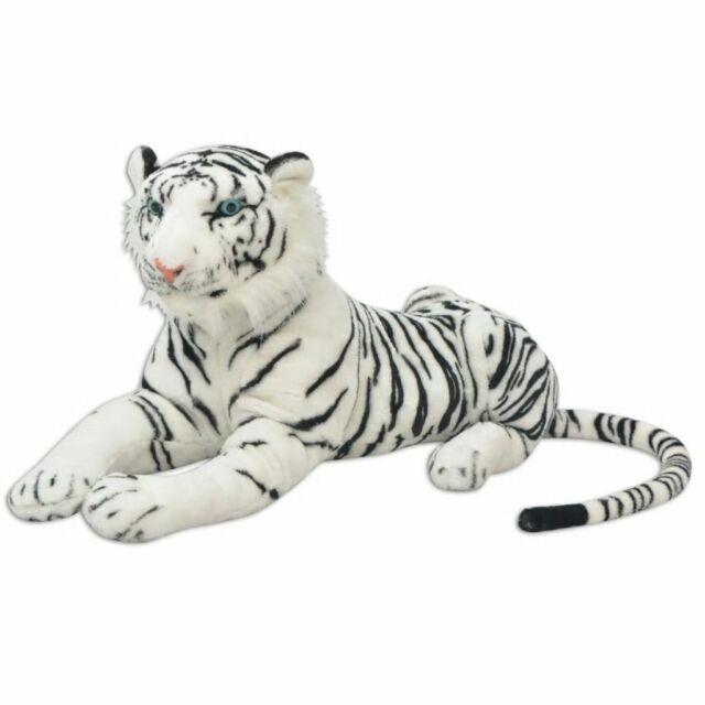 vidaXL Tigre en peluche Blanc XXL Grand nounours Peluche géante pour enfant