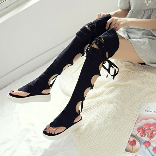 Roman Women Denim Strappy Hollow Out Slingbacks Over Knee Sandal Shoes 41/42/43