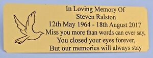 PERSONALISED-BENCH-MEMORIAL-PLAQUE-GRAVE-MARKER-SIGN-BRASS-EFFECT-6-034-x-2-034-DOVE