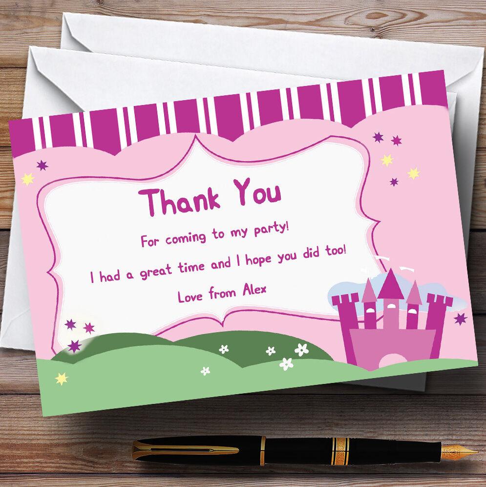 rosa Princess Castle Personalizzati Festa di Compleanno CARTOLINE di di di ringraziamento 992664