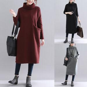 ZANZEA-Femme-Confor-Ample-Col-Haut-Chaud-Manche-Longue-Droit-Jupe-Robe-Plus