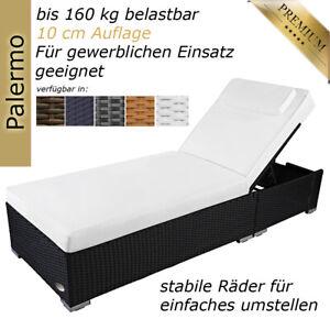 Sonnenliege Gartenliege Liege Liegestuhl Rattanliege Polyrattan Rattan Schwarz