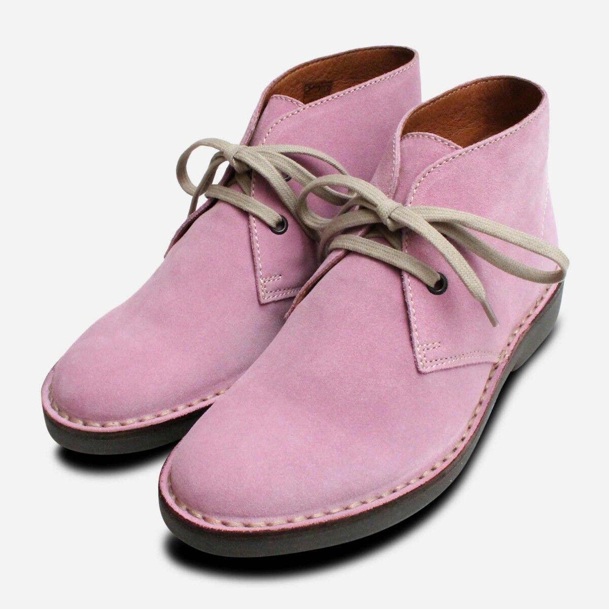 púrpura Gamuza Señoras botas Con Cordones Desierto italiano