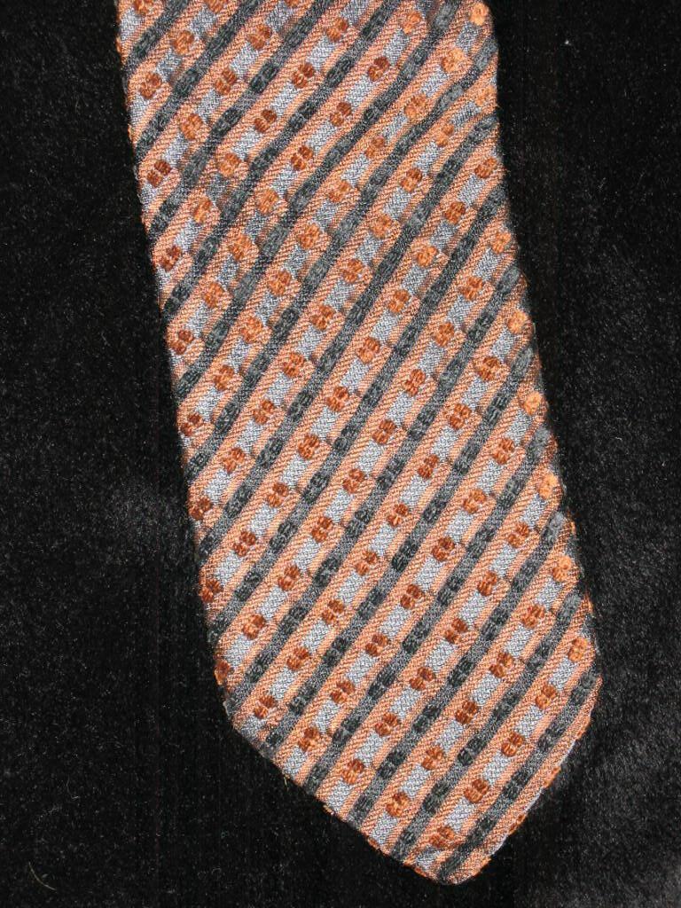 Krawatte Seidenkrawatte Schlips BOSTON Schrägstreifen Vintage braun/grau/schwarz