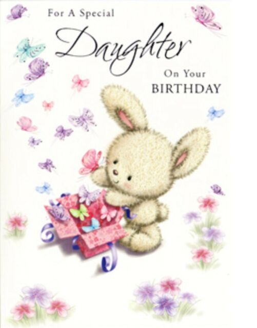 Daughter Birthday Card ~ Bunny Surprise By Card Essentials ~ Free P&P