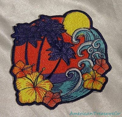 Embroidered Retro Tropical Island Waves Palm Trees Hibiscus Flower Patch Iron On