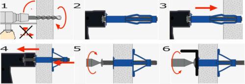 25Stk Hohlraumdübel Metall 8 x 66 mit Sechskantschraube