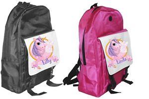 personnalise-licorne-Grand-sac-a-dos-sac-a-dos-noir-ou-rose-cadeau-pour-l-039-ecole